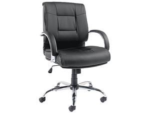 Ravino Series Mid-Back Swivel/Tilt Leather Chair, Black