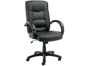 Alera Strada Series SR41LS10B (ALESR41LS10B)High-Back Swivel/Tilt Chair, Black Top-Grain Leather Upholstery