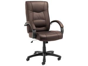 Strada Series High-Back Swivel/Tilt Chair, Brown Top-Grain Leather Upholstery
