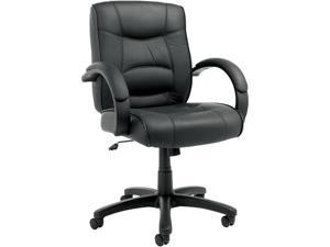 Alera Strada Series SR42LS10B (ALESR42LS10B)Mid-Back Swivel/Tilt Chair w/Black Top-Grain Leather Upholstery