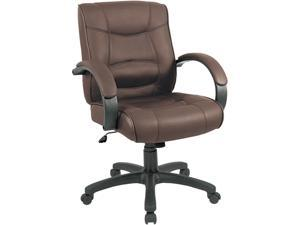 Alera Strada Series SR42LS50B (ALESR42LS50B)Mid-Back Swivel/Tilt Chair w/Brown Top-Grain Leather Upholstery