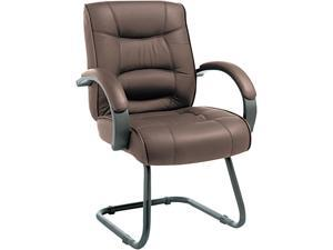 Alera Strada Series SR43LS50B (ALESR43LS50B)Guest Chair, Brown Top-Grain Leather Upholstery