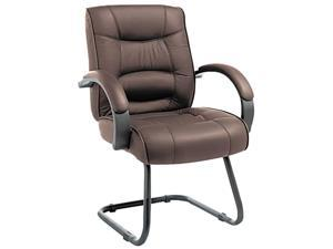 Strada Series Guest Chair, Brown Top-Grain Leather Upholstery