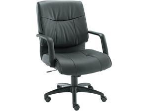 Alera Stratus Series ST42LS10B (ALEST42LS10B)Leather Mid-Back Swivel/Tilt Chair, Black