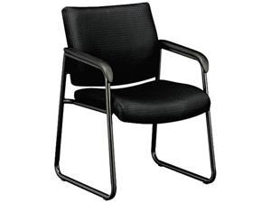 basyx VL443VC10 VL443 Series Guest Chair with Black Fabric, Black Frame & Sled Base