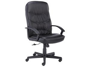 basyx VL641ST11 VL641 Leather High-Back Swivel/Tilt Chair, Metal, 25-3/4w x 28-1/2d x 47h, Black