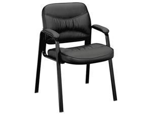 basyx VL643ST11 VL640 Series Leather Guest Leg Base Chair, Black