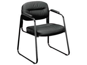 basyx VL653ST11 VL653 Guest Side Chair, Black Leather/Black Frame