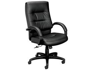 basyx VL691SP11 VL690 Series Executive High-Back Leather Chair, Black Leather