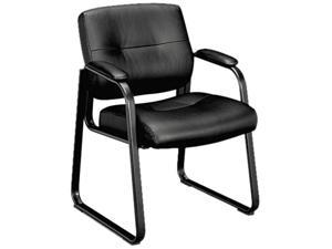 basyx VL693SP11 VL690 Series Guest Leather Chair, Black Leather