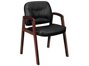 basyx VL803NST11 VL800 Series Guest Chair w/Wood Arms, Black Leather/Mahogany Finish