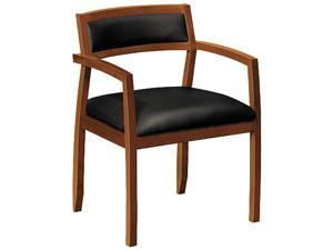 basyx VL852HST11 Wood Guest Chairs with Black Leather Seat/Back, Bourbon Cherry Finish