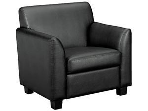 Basyx VL871ST11 Tailored Black Leather Club Chair, Plastic Legs, 33 x 28-3/4 x 32