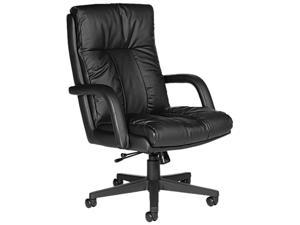 Global 3966BK450550 Series Leather High-Back Swivel/Tilt Chair w/Arms, Black