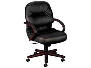 HON 2192NSR11 2190 Pillow-Soft Wood Series Mid-Back Chair, Mahogany/Black Leather