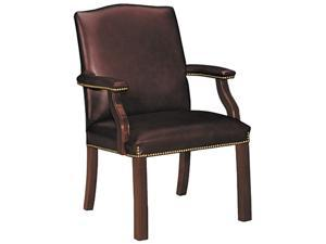 HON 6572NSL62 Jackson 6570 Series Crest-Back Guest Chair, Mahogany/Burgundy Leather