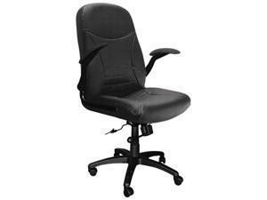 Mayline 6446AGBLT Big & Tall Executive Pivot-Arm Chair, Black Leather