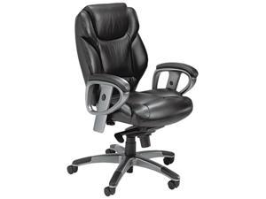 Mayline UL330MBLK Ultimo 300 Series Mid-Back Synchro Tilt Chair, Black Leather