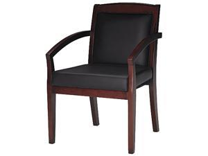 Mayline VSCABMAH Mercado Series Wood Guest Chair, Mahogany/Black Leather