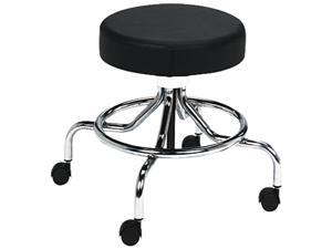 "Safco 3432BL Screw Lift Stool w/Low Base, 17-25"" Height-Adjustable, Chrome/Black"