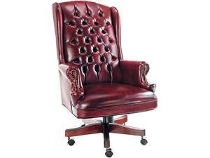 Alera Traditional Series CE41VY31MY (ALECE41VY31MY) Wing-Back Swivel/Tilt Chair, Mahogany Finish/Oxblood Vinyl