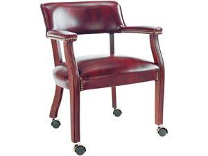 Traditional Series Guest Arm Chair w/Casters, Mahogany Finish/Oxblood Vinyl
