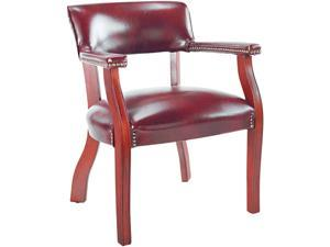 Alera Traditional Series CE43VY31MY (ALECE43VY31MY) Guest Arm Chair, Mahogany Finish/Oxblood Vinyl