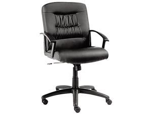 Alera York Series YK42LS10B (ALEYK42LS10B) Mid-Back Swivel/Tilt Chair, Black Leather