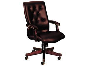 HON 6540 Series Executive High-Back Swivel Chair, Oxblood Vinyl Upholstery