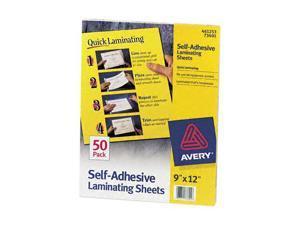 Avery Clear Self-Adhesive Laminating Sheets, 3 mil, 9 x 12, 50/Box