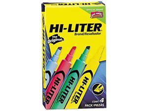 HI-LITER 17752 Desk Style Highlighter, Chisel Tip, Assorted Colors, 4/Set