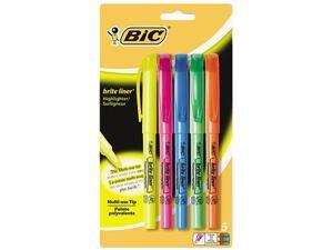 BIC BLP51W-ASST Brite Liner Highlighter, Chisel Tip, Fluorescent, 5 per Set