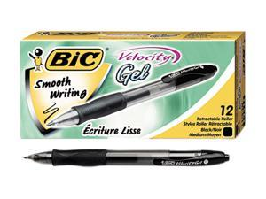BIC RLC11-BK Velocity Roller Ball Retractable Gel Pen, Black Ink, Medium, Dozen