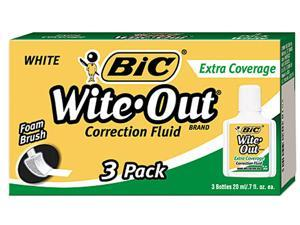 BIC WOFEC324 Wite-Out Extra Coverage Correction Fluid, 20 ml Bottle, White, 3/Pack