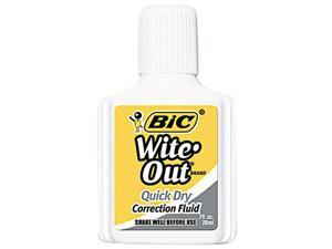 BIC WOFQD12WE Wite-Out Quick Dry Correction Fluid, 20 ml Bottle, White, 12/Pack