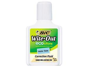 BIC WOFWB12WE Wite-Out Water-Based Correction Fluid, 20 ml Bottle, White