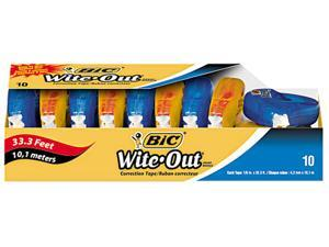 "BIC WOTAP10 - Wite-Out EZ Correct Correction Tape, Non-Refillable, 1/6"" x 472"", 10/Box"