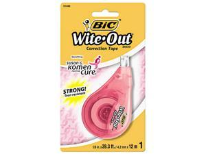 "BIC WOTAP1SGK Wite-Out EZ Correct Correction Tape, 1/6"" x 472"", Pink Ribbon Dispenser"