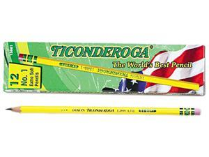 Dixon 13881 Ticonderoga Woodcase Pencil, B #1, Yellow Barrel, Dozen