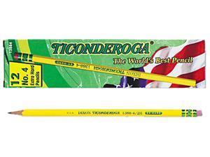 Dixon 13884 Ticonderoga Woodcase Pencil, 2H #4, Yellow Barrel, Dozen