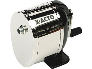 X-ACTO 1041 Boston Model L Table-Mount/Wall-Mount Manual Pencil Sharpener, Black/Chrome