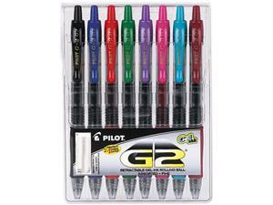 Pilot 31128 G2 Gel Roller Ball Pen, Retractable, Assorted Inks, 0.7mm Fine, 8 per Pack