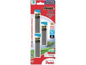 Pentel C27BPHB3-K6 Super Hi-Polymer Lead Refills, 0.7mm, HB, Black, 90 Leads/Pack