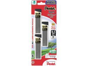 Pentel C25BPHB3-K6 Super Hi-Polymer Lead Refills, 0.5mm, HB, Black, 90 Leads/Pack