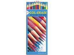 Prismacolor 20516 Col-Erase Colored Woodcase Pencils w/ Eraser, 12 Assorted Colors/Set