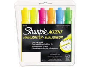 Sharpie Accent 25076 Accent Tank Style Highlighter, Chisel Tip, Assorted Colors, 6/Set