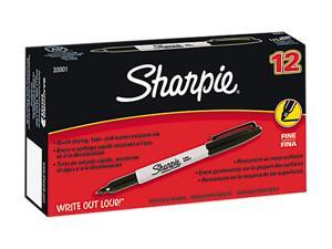 Sharpie 30001 Permanent Marker, Fine Point, Black, Dozen