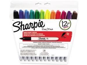 Sharpie 30072 Permanent Markers, Fine Point, Assorted, 12/Set