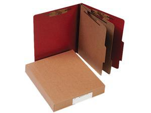 ACCO                                     Pressboard 25-Pt. Classification Folder, Letter, Six-Section, Earth Red, 10/Box