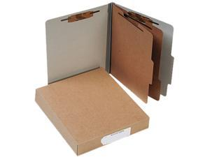 Acco 15056 Pressboard 25-Pt. Classification Folders, Letter, Six-Section, Mist Gray, 10/Box